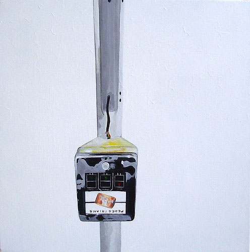 Pedestrian Warning, Acrylic on Canvas, 31cm x 31cm by Robin Clare