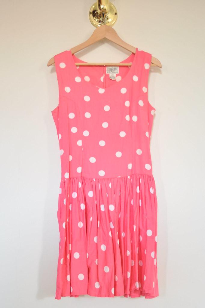 vintage pink dot dress