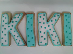 (kikiboe) Tags: blue white flower cookies butterfly name tulip icing polkadot