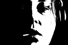 smoker (aananya) Tags: light portrait bw selfportrait nose eyes darkness lips ciggarette