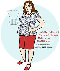 Colette 1007 Sencha Blouse Maternity Modification Sketch
