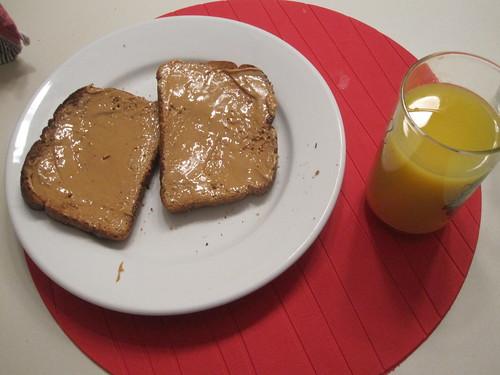 toast with PB, OJ