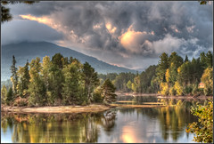 Flagstaff Lake Sunrise (Rob Hanson Photography) Tags: autumn trees sun sunlight lake fall water photoshop sunrise nikon glow pyramid maine newengland fallfoliage foliage flagstaff hdr hdri eustis ldr noiseware d90 photomatix greatphotographers tonemapped tonemap flagstafflake lowdynamicrange imagenomic photoshopcs4 imagenomicnoiseware absolutelyperrrfect daarklands
