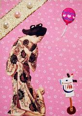 ATC195 - Mama, I lost my balloon (tengds) Tags: pink flowers brown atc collage child baloon mother pearls kimono papercraft toyhorse whiteflowers japanesepattern handmadecard goldribbon tengds