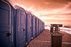 Pretty Potties (davidmaddenphoto.com) Tags: ocean sea vacation beach bathroom dawn dusk toilet scene event restroom infrared flush facility hygiene lavatory function portapotty cleanliness gettyvacation2010