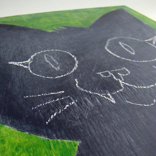 cat chalk board closeup