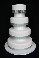 4 Tier Brooch Wedding Cake with Separators (ConsumedbyCake) Tags: blue wedding white cakes cookies cake sussex cupcakes worthing brighton traditional 4 brooch ribbon tiers separators consumedbycake