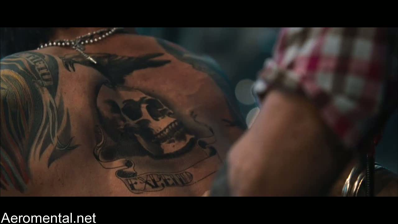 The Expendables Sylvester Stallone back tattoo