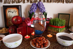 Haftsin (Saeed.Kaviani) Tags: fish flower mirror persian candles goldfish iran fishbowl vinegar apples hafez hyacinth quan haftsin greengrass irani samanoo senjed driedoleaster