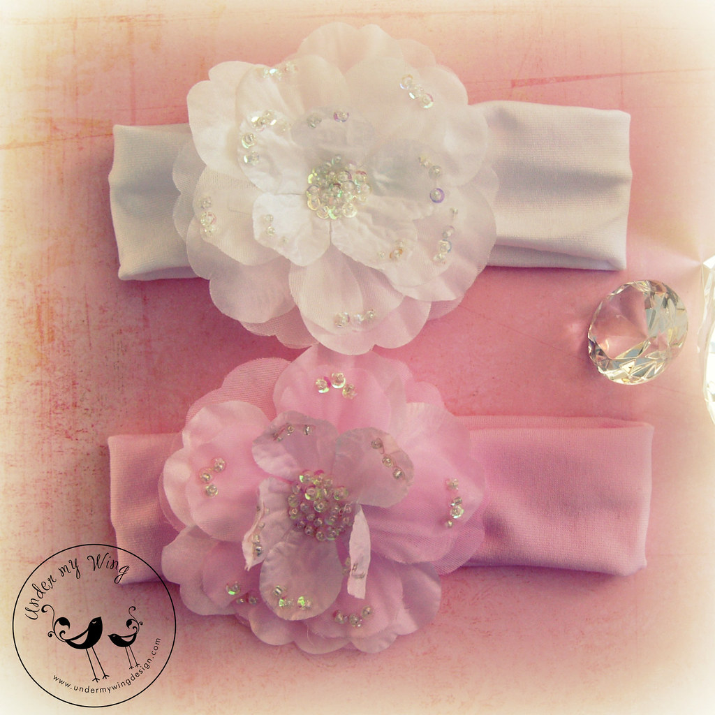 Ooh la la headband in pure white or pure pink by Under my Wing