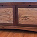 Low Two-Drawer Cabinet in Reclaimed Pine, Walnut, Spalted Maple