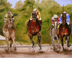 Saratoga Days (Susan M. Moore) Tags: horses racetrack saratoga racing oilpainting horseraces horsesrunning tracktrees saratogadays