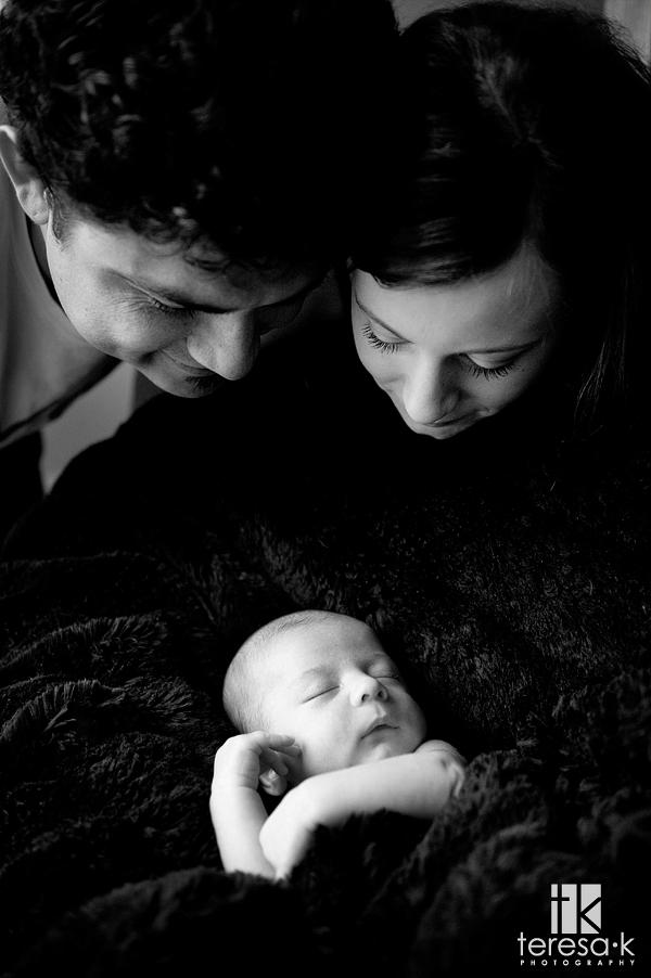 black and white baby portraits, Noah's newborn portraits, Folsom newborn photographer, Teresa K photography