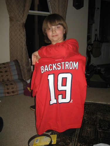 4/20/10 - Becca got him a Caps Nicklas Backstrom shirt
