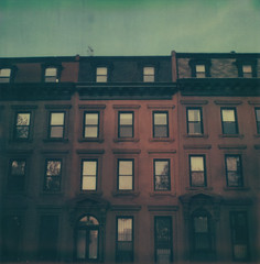 Fort Greene (jeffreywithtwof's) Tags: nyc newyorkcity windows house newyork jeff brooklyn analog sx70 evening apartment faded hutton avenue fortgreene brownstone brownstones clermont rowhouse atz instantfilm analong sx70alpha1 jeffhutton integralfilm artistictz jeffhuttonphotography jeffreyhutton