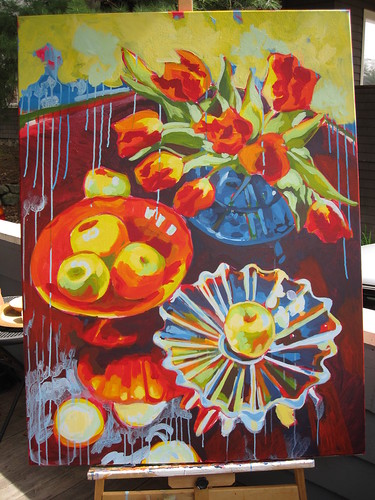 WIP still life with golden delicious and parrot tulips 36x48, acrylic on canvas