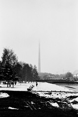 Distant spire (bno20) Tags: winter bw russia spire fading ekaterinburg
