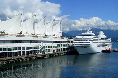 Cruise ship docks at Canada Place bound for Alaska in the summer