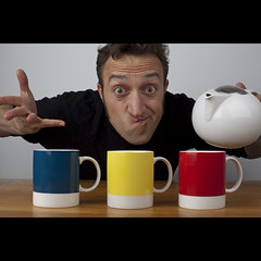 126/365: Which cup gets my tea? (Mr. Flibble) Tags: uk blue red yellow mugs election tea labour teapot 365 voting conservatives liberaldemocrats pantone idrinkleadpaint