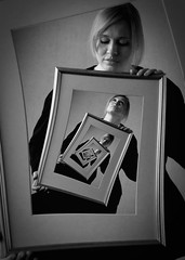 Self-awareness (Oyvindi) Tags: portrait blackandwhite bw woman manipulated spiral blackwhite gimp manipulation trick