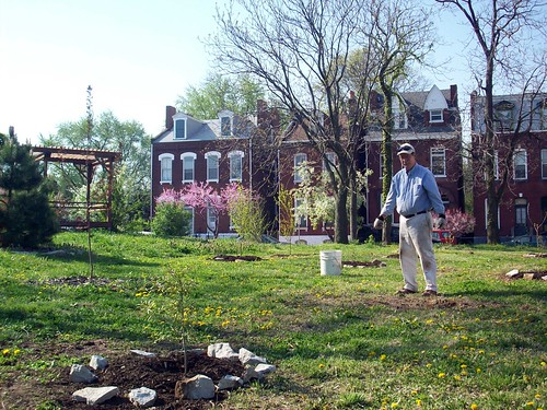 planting trees in the Hebert St garden (courtesy of ONSL Restoration Group)