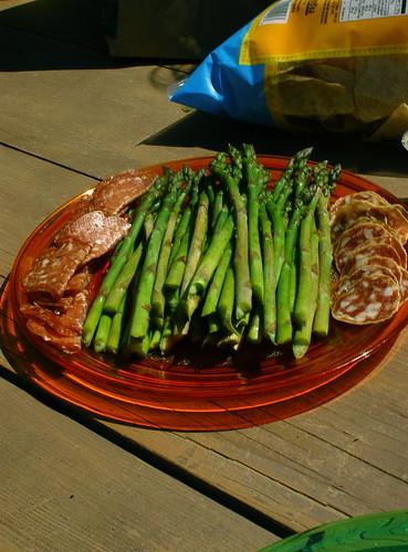 asparagus and salami