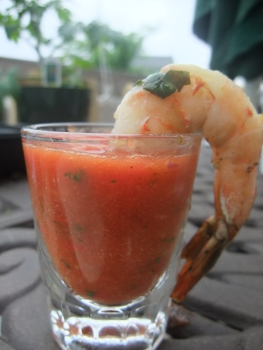 Gazpacho Shooter with Lemon-Basil Grilled Shrimp