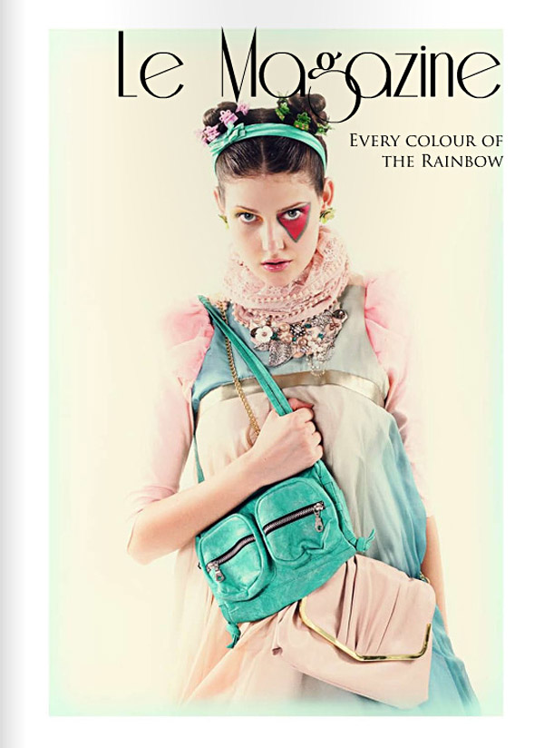 Le Magazine Cover, Issue 3, Colour Blocking Fashion Story, All The Colours Of The Rainbow
