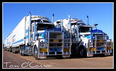 Gilbert's Transport (Tom O'Connor.) Tags: road windmill breakfast creek train truck one highway pix fuji nt alice north transport fine under katherine darwin down stuart springs land outback trucks sa heading triple trucking gilberts truckers kenworth tennant t904 glendambo s5700 t908