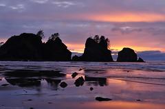 Sunset Colors, Shi-Shi Beach, Olympic National Park (Tyler Westcott) Tags: sunset reflection beach coast may pacificocean olympicnationalpark 2010 seastack shishibeach pointofthearches nikond90