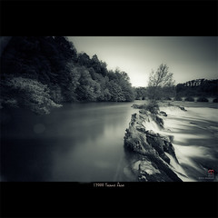 17000 Years Ago (nixArt [almost no internet]) Tags: trees sky bw white black art nature water glass reflections switzerland waterfall forsale welding digitalart smooth schaffhausen photoart rheinfall longtimeexposure 50d nixart weldingglassfilter 17000yearsago