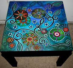 funky floral (Rick Cheadle Art and Designs) Tags: blue orange brown abstract black flower color colour green bird art floral illustration table design cool experimental acrylic hand graphic dragonfly furniture folk assemblage circles arts funky exotic fantasy handpainted oil om decor groovy distressed eclectic embossed hamsa abstrct acrylicsart paintedtables illustrationinterior rickcheadle tablesaccentaccent flowerpurpleflowers folkartfoundfoundobjectsfunky anniesloanchalkpaint shabbyfrench