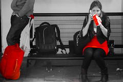 Drink red (Just a guy who likes to take pictures) Tags: street red portrait people bw en woman white man black holland color colour male rot netherlands girl monochrome station female hair bag rouge photography und europa europe long fotografie photographie dress boots ns feminine candid panty colorphotography nederland thenetherlands bahnhof skirt delft couch jeans human backpack infrastructure holanda mister frau suitcase herr rood zwart wit weiss paysbas schwarz vrouw niederlande zw the kleur colourphotography weis meneer infrastructuur kleurenfotografie