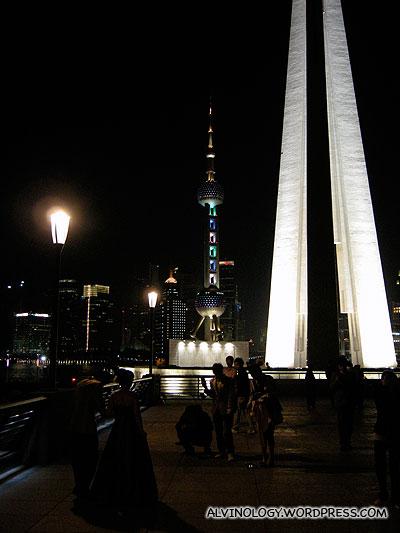 Oriental Pearl TV Tower and People's Heroes Memorial