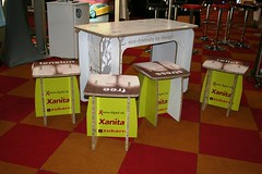 Exhibition Booth promo table and stool using X-Board Print