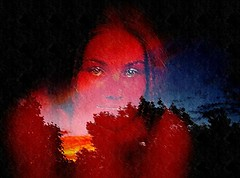 Tus ojos viajaban de insomnio... (conejo721*) Tags: argentina mujer árboles amor cielo nubes ocaso rostro palabras mardelplata sentimiento poema posía conejo721 crepúsculorojizo confíngranate