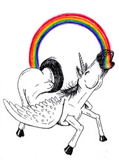 28-05-10 (Ronchhon) Tags: art illustration rainbow drawing dessin unicorn arcenciel ronchhon