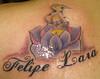 Tatuagem flor de lotus e nomes