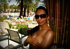 off with the top - Mandalay Bay Cabana (tuchi68) Tags: vegas sisterinlaw topless handbra