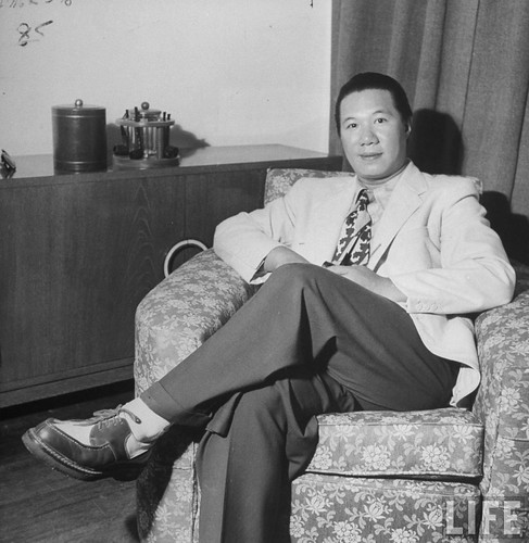 Hongkong, June 1948 - Emperor Bao Dai of Annam sitting in chair.
