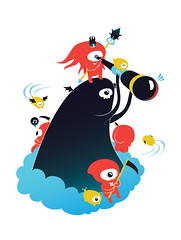 Death Comes From Above (matchola) Tags: cute illustration death flying character illustrator vector ripping matchola matcholinu