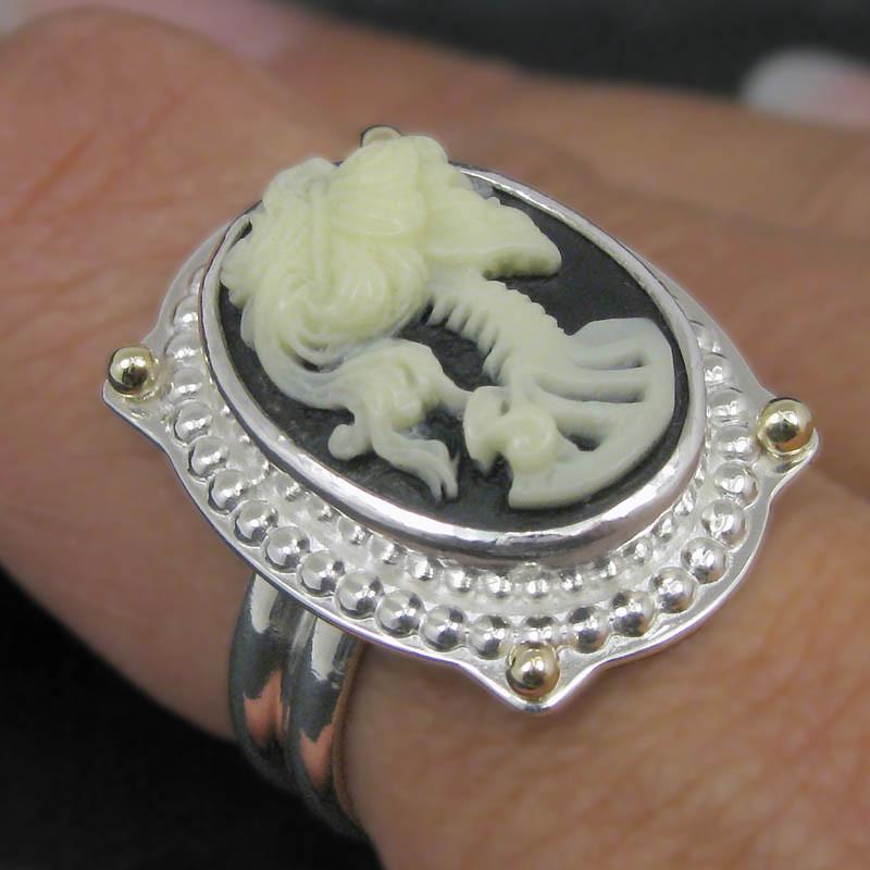 skeleton cameo ring modeled