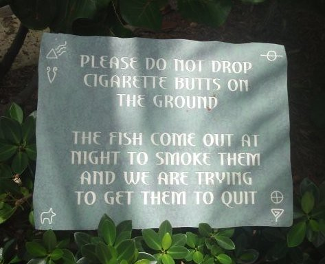 PLEASE DO NOT DROP CIGARETTE BUTTS ON THE GROUND. THE FISH COME OUT AT NIGHT TO SMOKE THEM AND WE ARE TRYING TO GET THEM TO QUIT.