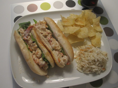 Lobster rolls, chips, coleslaw