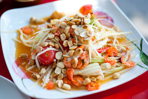 Som tam khai khem, papaya salad with salted eggs at Jay So, a northeastern Thai restaurant in Bangkok