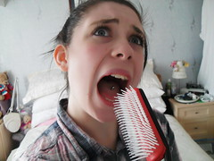 Day 122 - Lindsay (Linrah) Tags: portrait selfportrait tongue self mouth hair bed bedroom day open singing room teeth lindsay brush lips piercing days 365 hairbrush johnston 122 day122 365days
