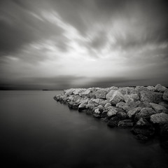 Approaching Storm (Jeff Gaydash) Tags: longexposure blackandwhite water square seascapes michigan greatlakes traversecity breakwall grandtraversebay lakescapes nd110