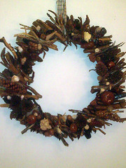 Handmade Wreath (TzoFeltedGood) Tags: handmade wreath handcrafted ξυλο χειροποιητο κοχυλια στεφανι