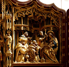 Lichfield, Staffordshire, cathedral, lady chapel, altar, detail (groenling) Tags: wood uk england saint joseph cathedral mary jesus birth carving altar kings staffordshire nativity woodcarving magi lichfield staffs ladychapel nativitas bvmandstchad