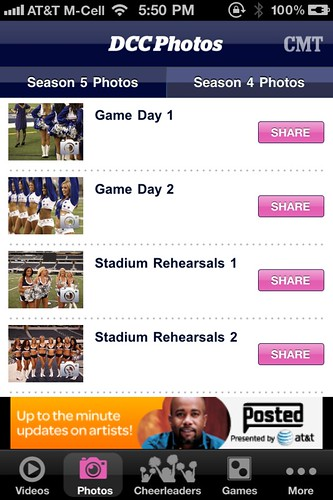 Dallas Cowboy Cheerleaders iPhone App Screens